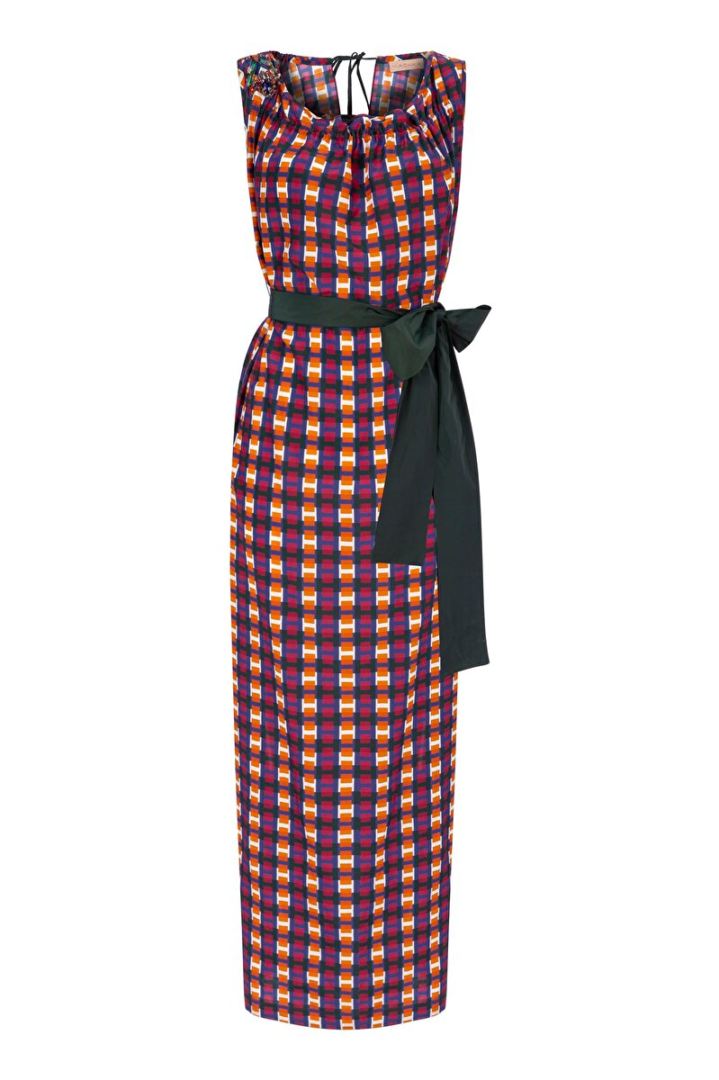 POPLIN DRESS WITH EMBROIDERED NECK AND BELT