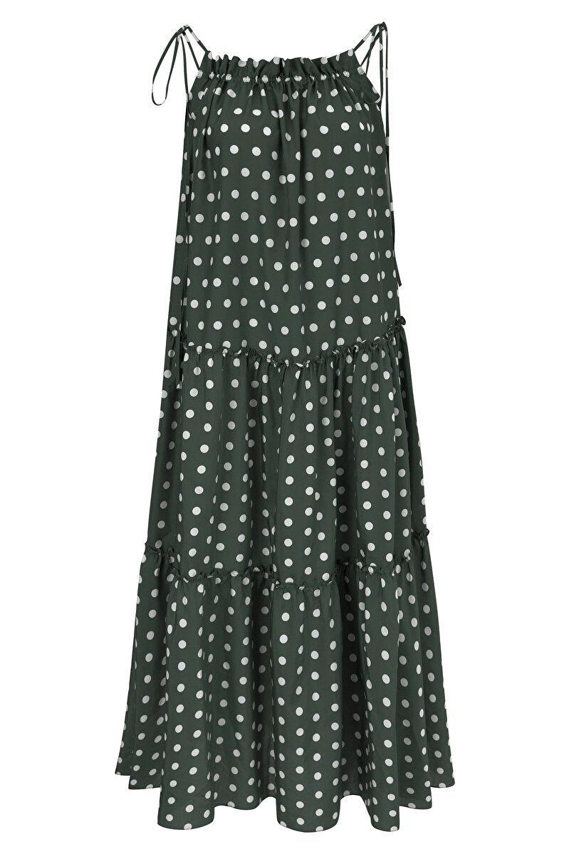SPOTTED SILK VOILE DRESS WITH FLARED SKIRT