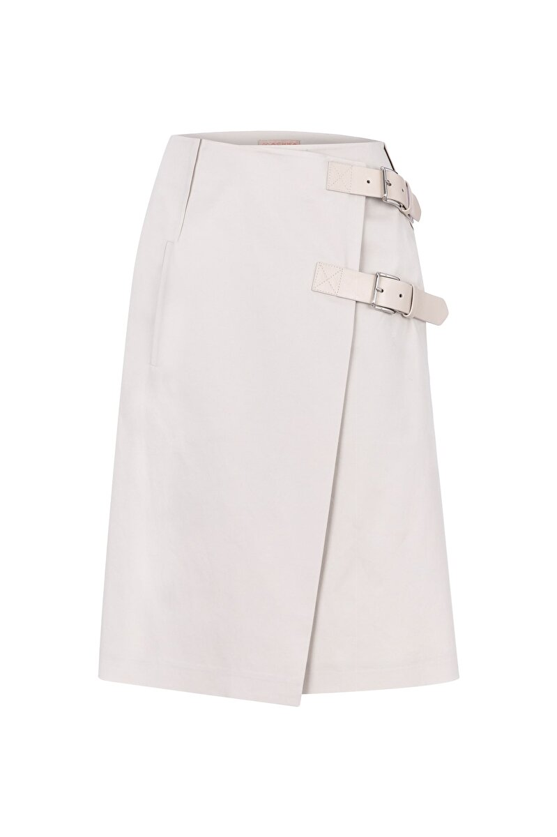 DOUBLE CLOSED GABARDINE SKIRT WITH LEATHER BELT