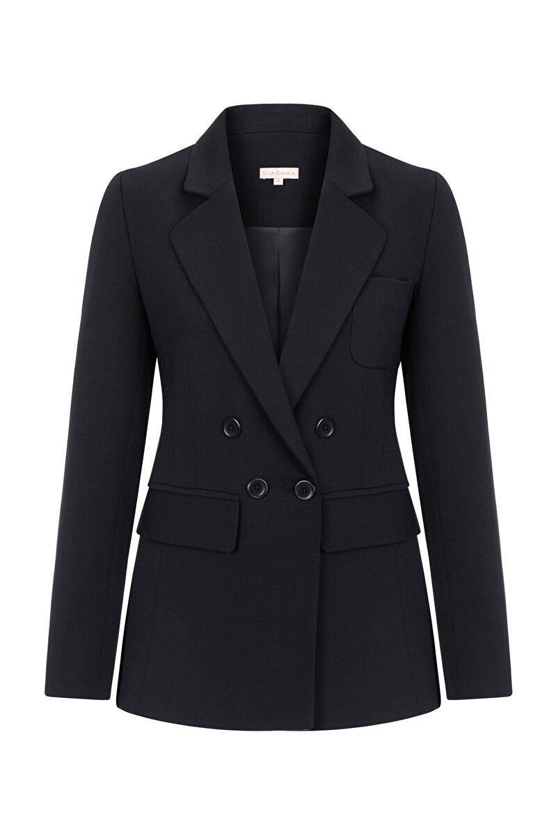 DOUBLE BREASTED CREPE JACKET WITH WOOL AND BUTTON