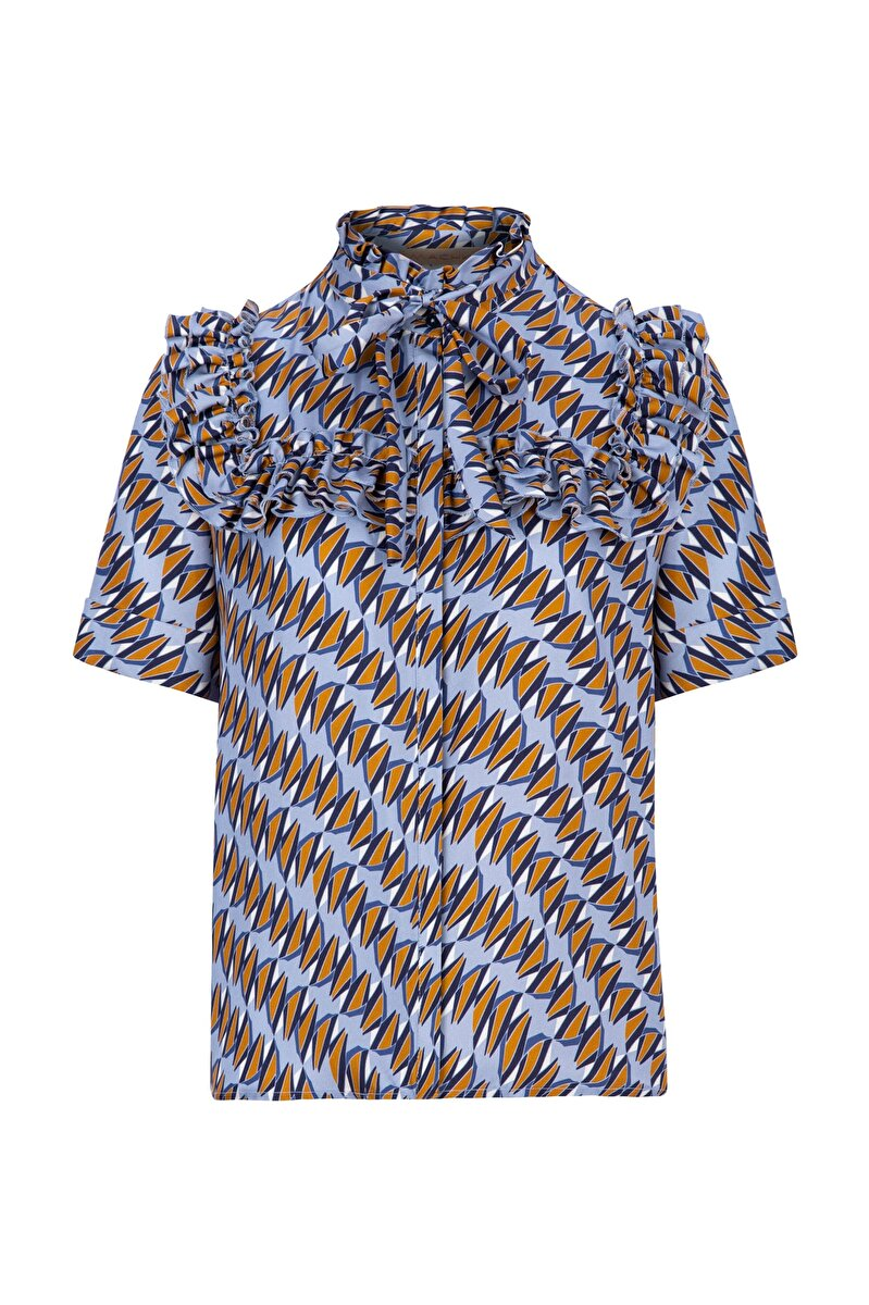 FRILLED TWILL BLOUSE WITH YACHT PATTERN AND FOULARD
