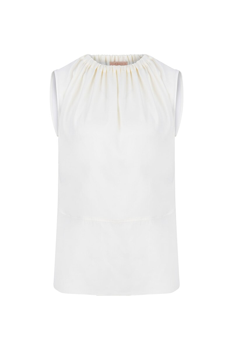 SLEEVELESS SILK BLOUSE WITH SHIRRED NECK