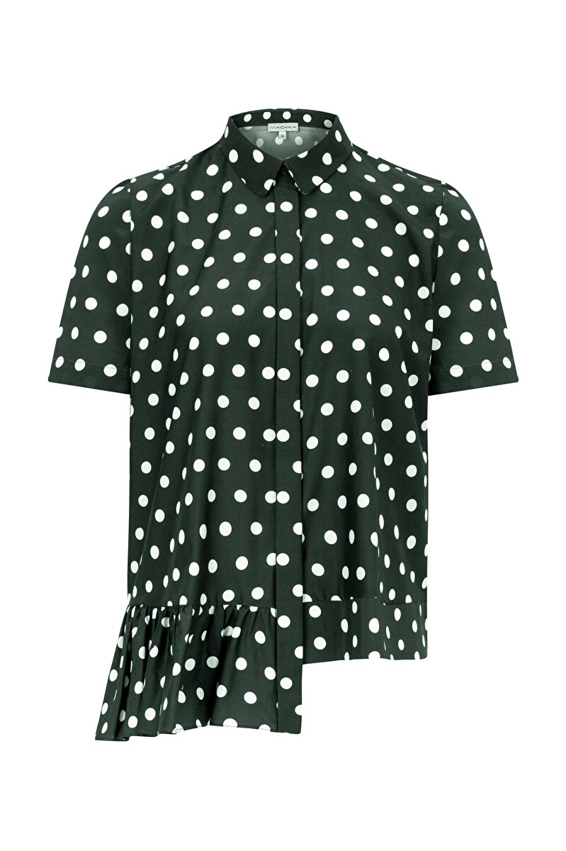 SPOTTED POPLIN SHIRT WITH SMALL NECK