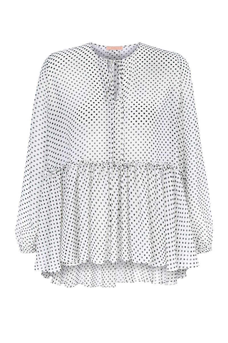 BALLOON SLEEVED SPOTTED BLOUSE WITH FRILLED SKIRT