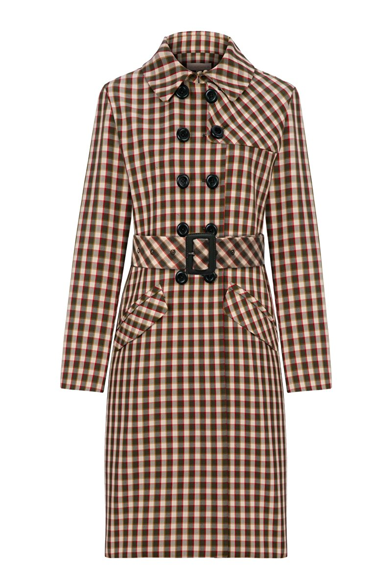 TOPCOAT WITH LEATHER BUCKLE AND BELT
