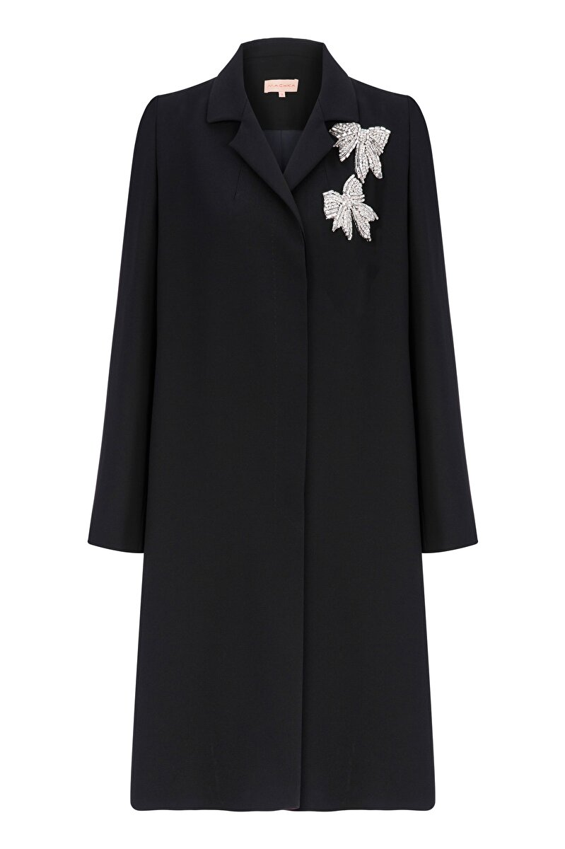 BOWTIE EMBROIDERED CREPE TOPCOAT WITH CONCEALED PLACKET