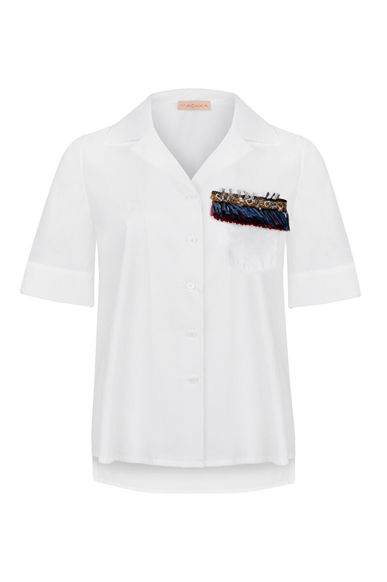 RAFFIA EMBROIDERED HAWAII NECK COMBED COTTON SHIRT