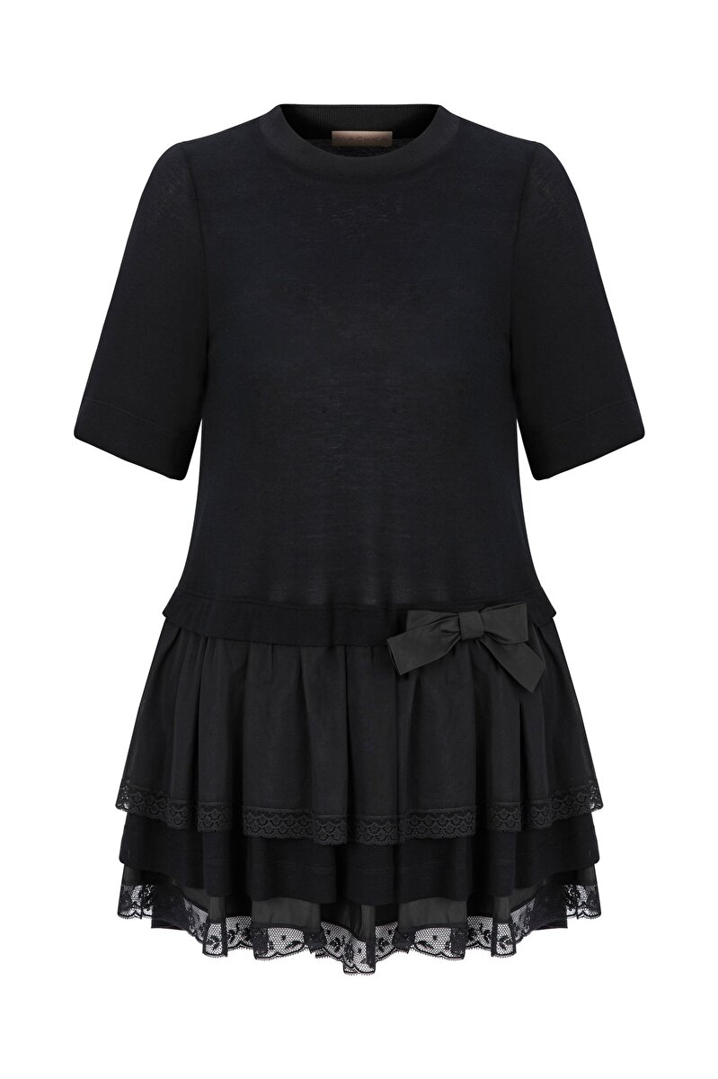 LACE STRIP AND BOWTIE DETAILED JERSEY BLOUSE