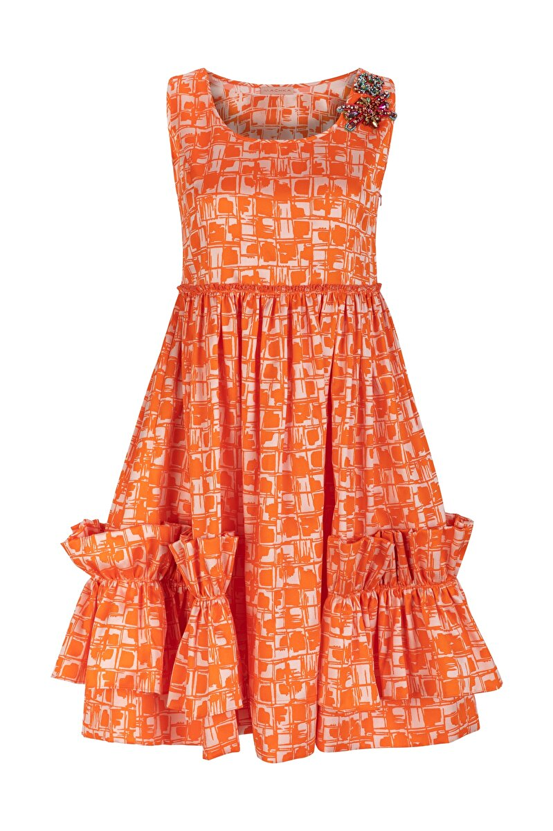 MODULE EMBROIDERED FRILLED JACQUARD DRESS