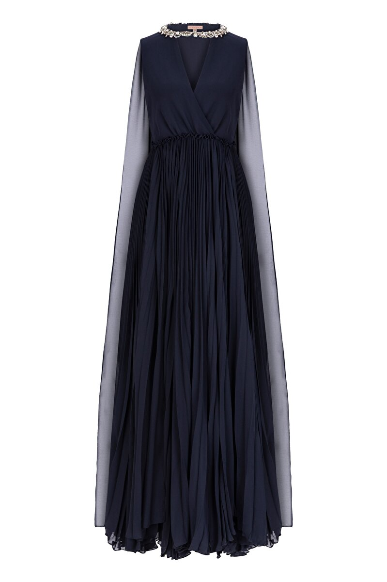 SILK EVENING GOWN WITH STRASS