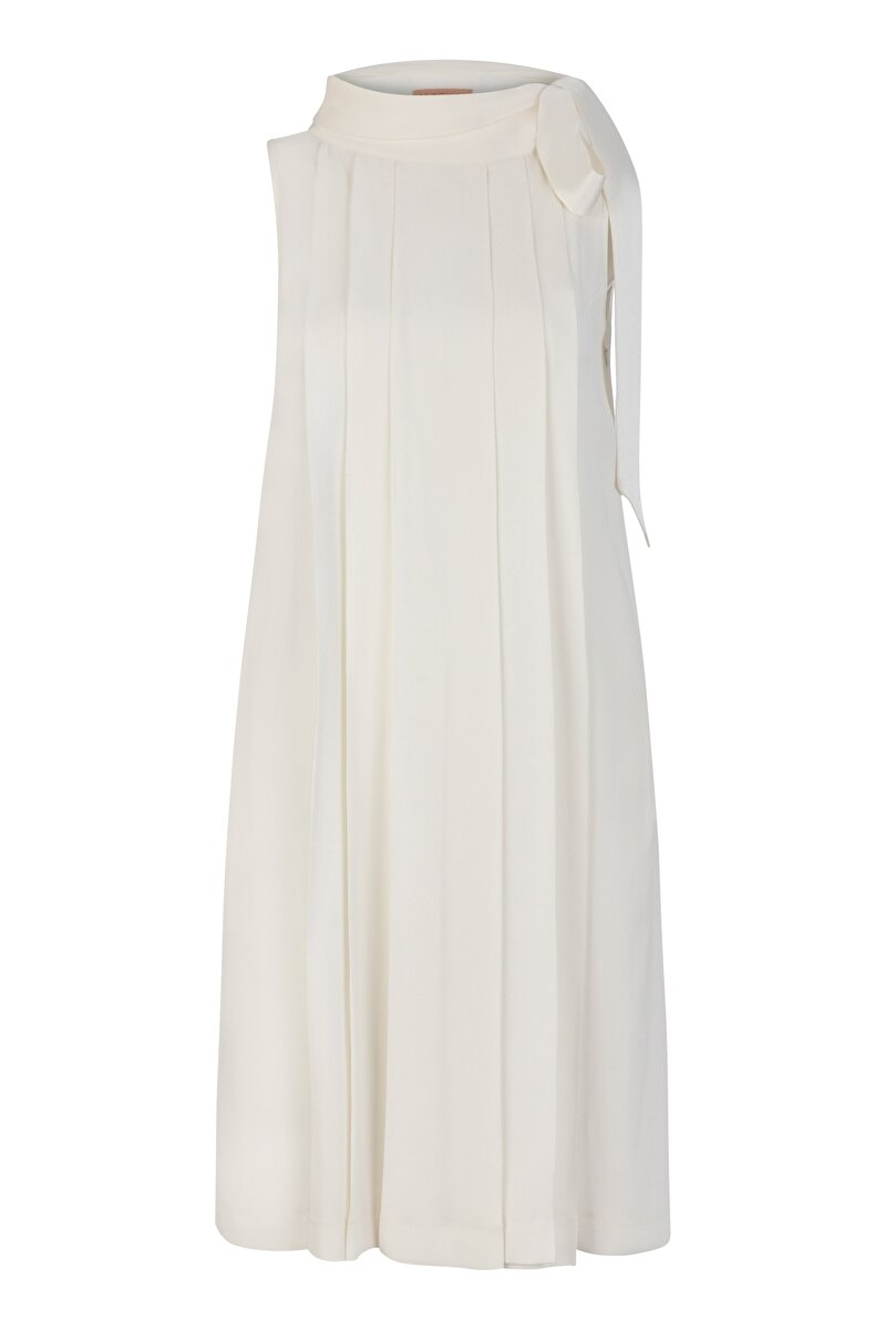 PLEATED SATIN DRESS WITH BOWTIE ON NECK