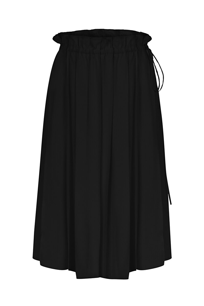 SATIN SKIRT WITH BINDING AND PLEATS
