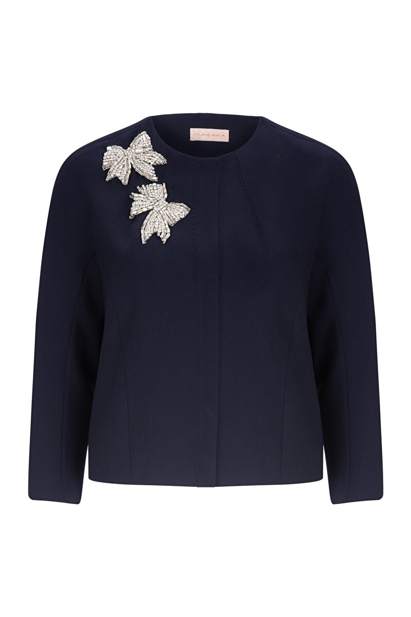 BOWTIE EMBROIDERED CREPE JACKET WITH ZIPPER