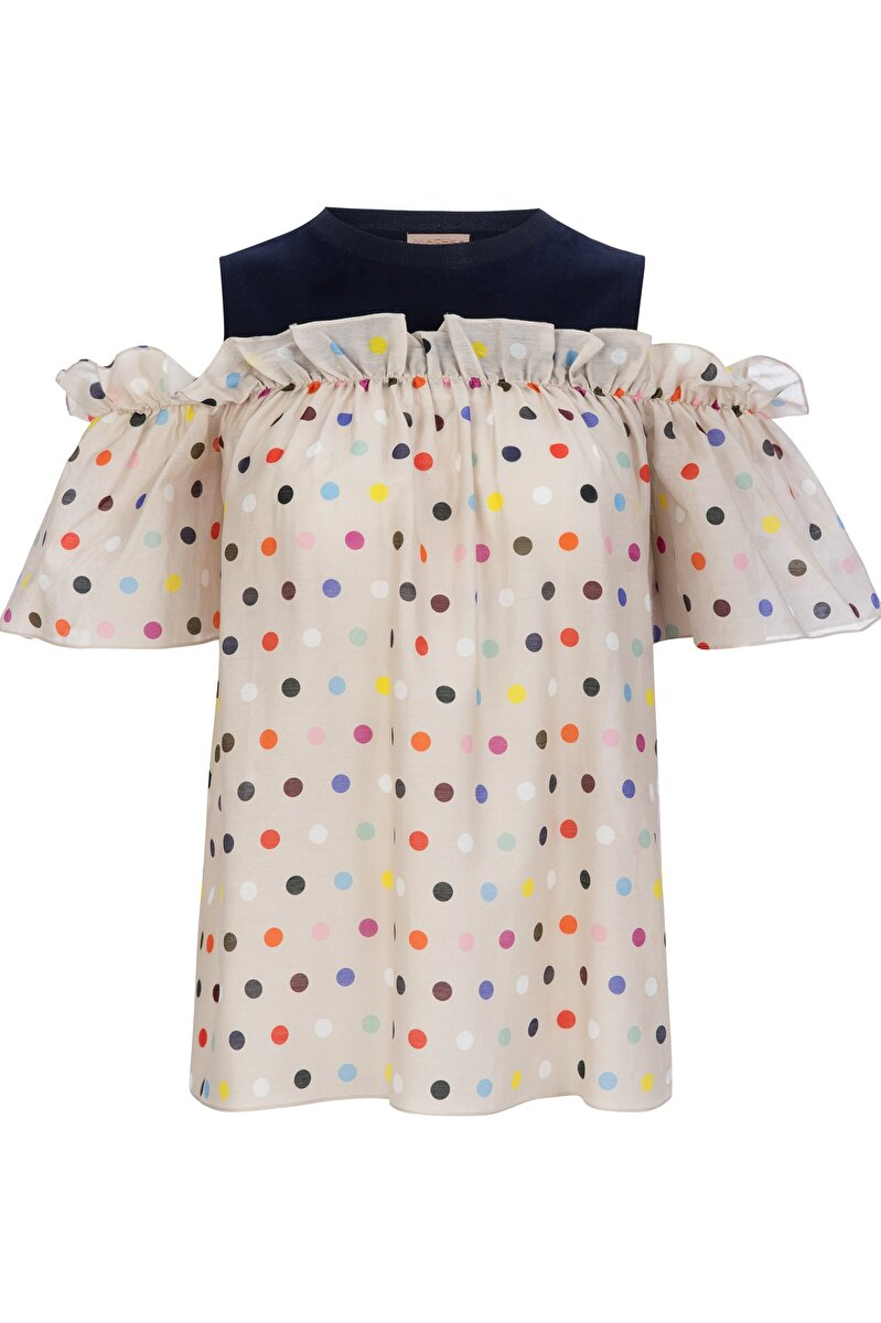 POPLIN BLOUSE WITH SMALL DOT PATTERN AND FRILLED JERSEY