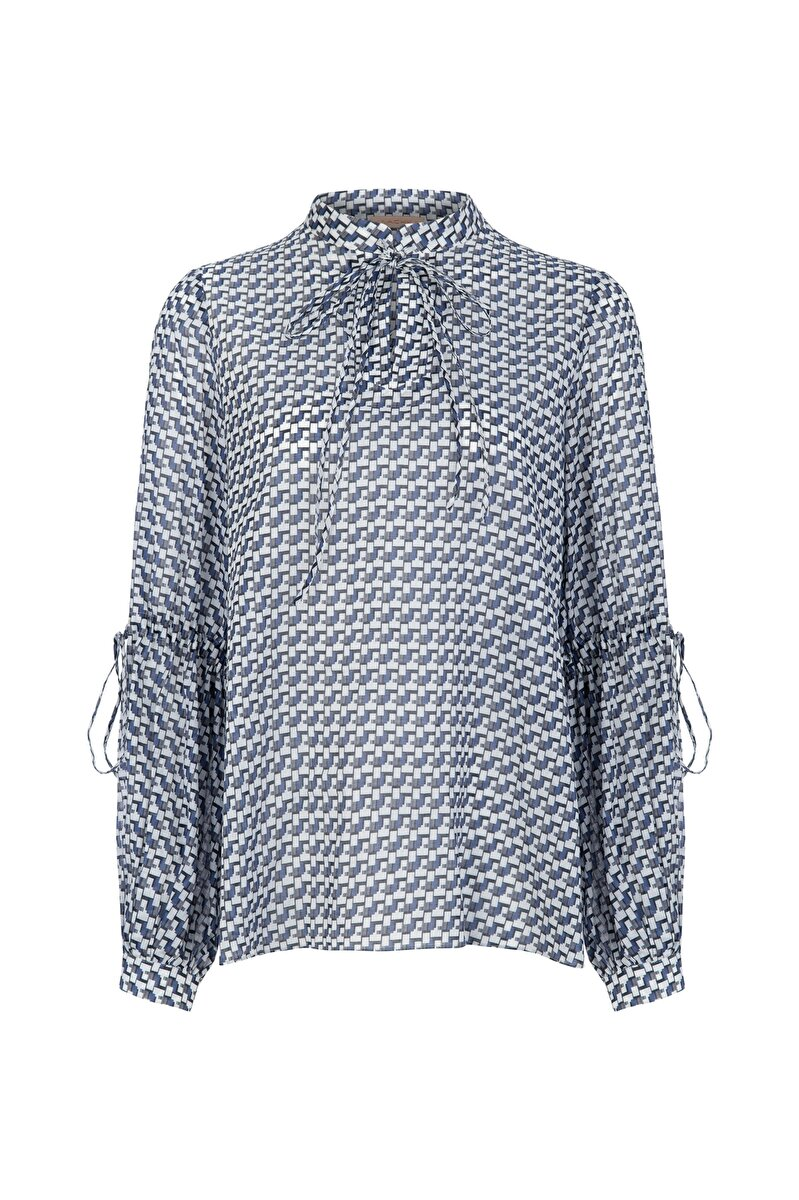 BALLOON SLEEVED VOILE BLOUSE WITH STAIRS PATTERN
