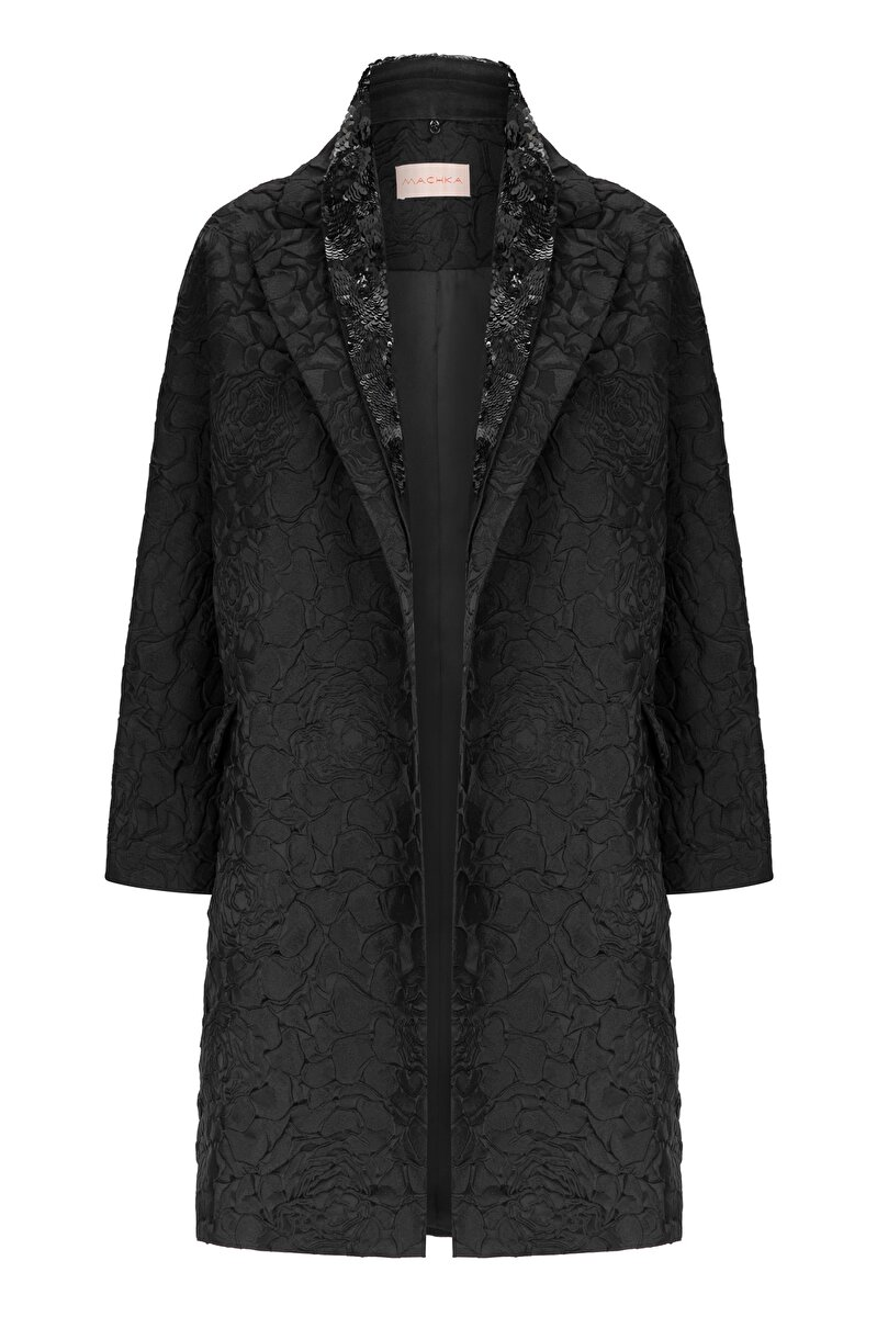 TOPCOAT WITH FLOWER JACQUARD AND GODET