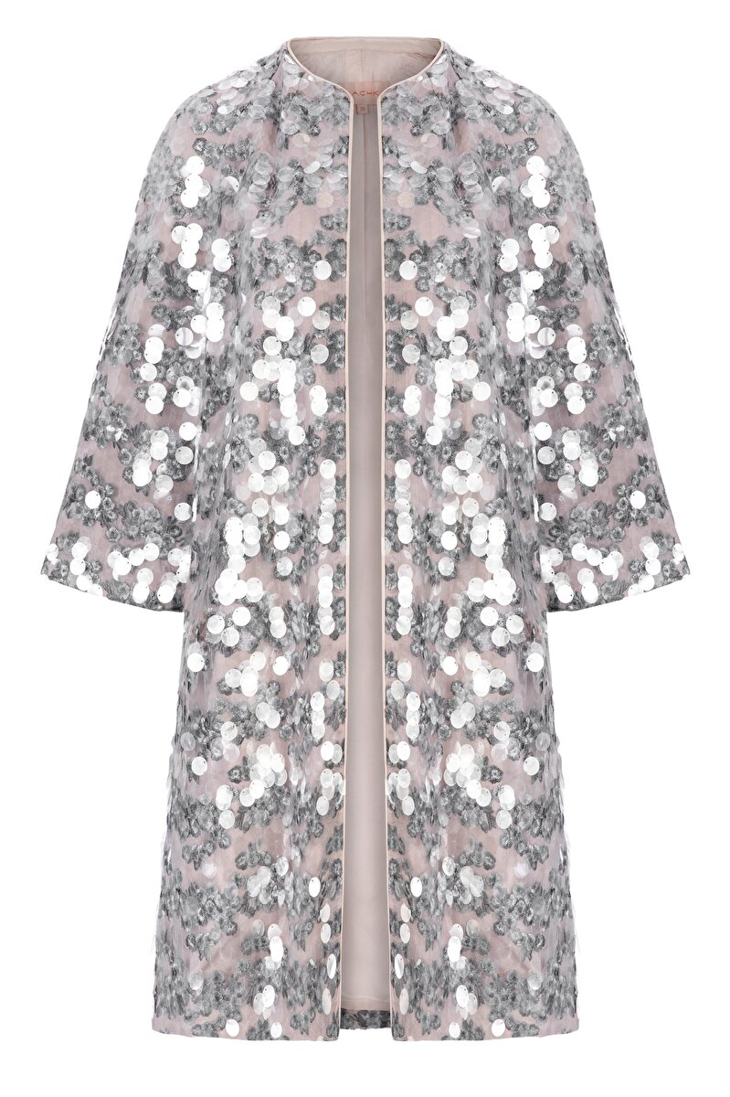 TRANSPARENT SEQUIN AND FLOWER EMBROIDERED TOPCOAT
