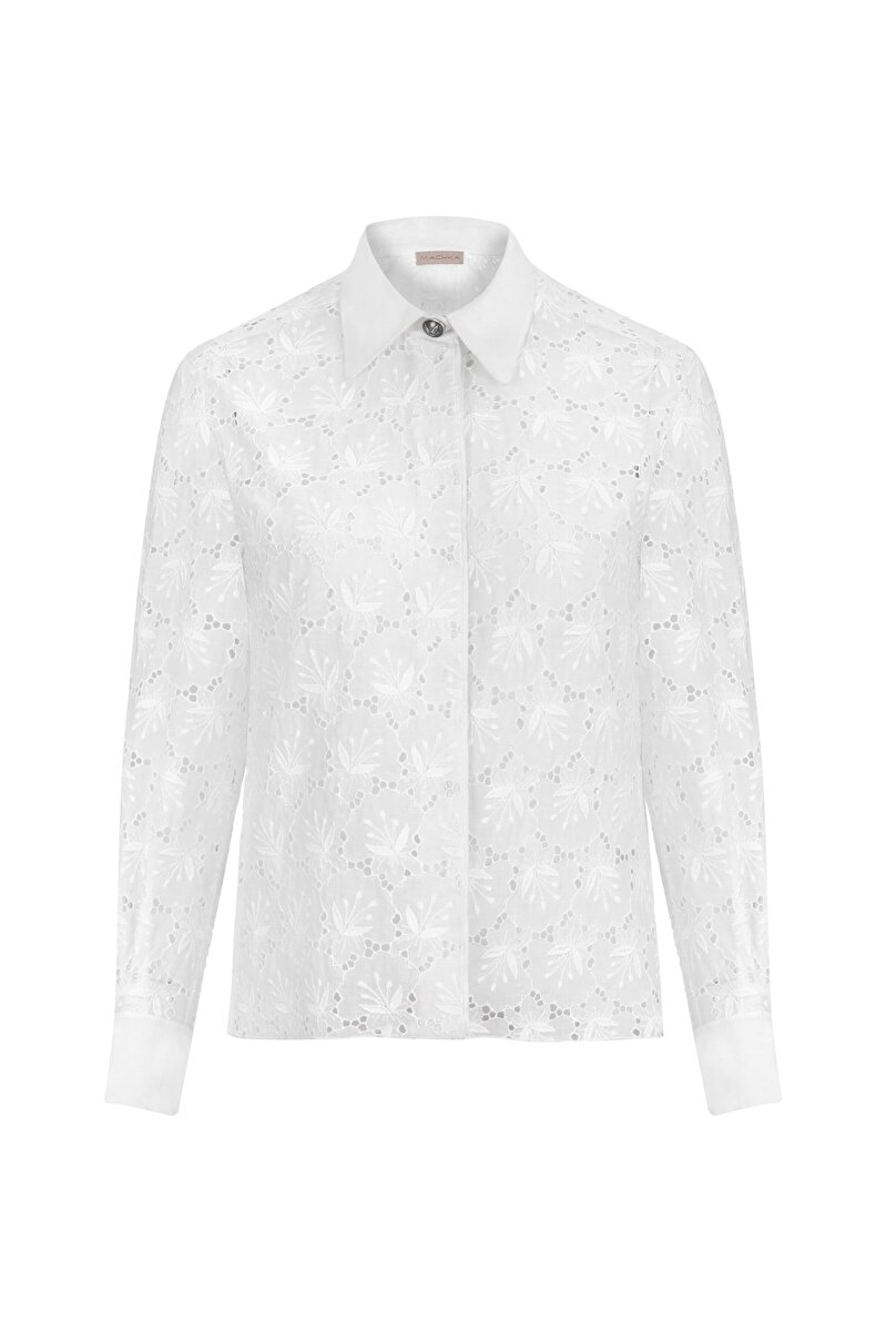 SCALLOP SHIRT WITH METAL BUTTON