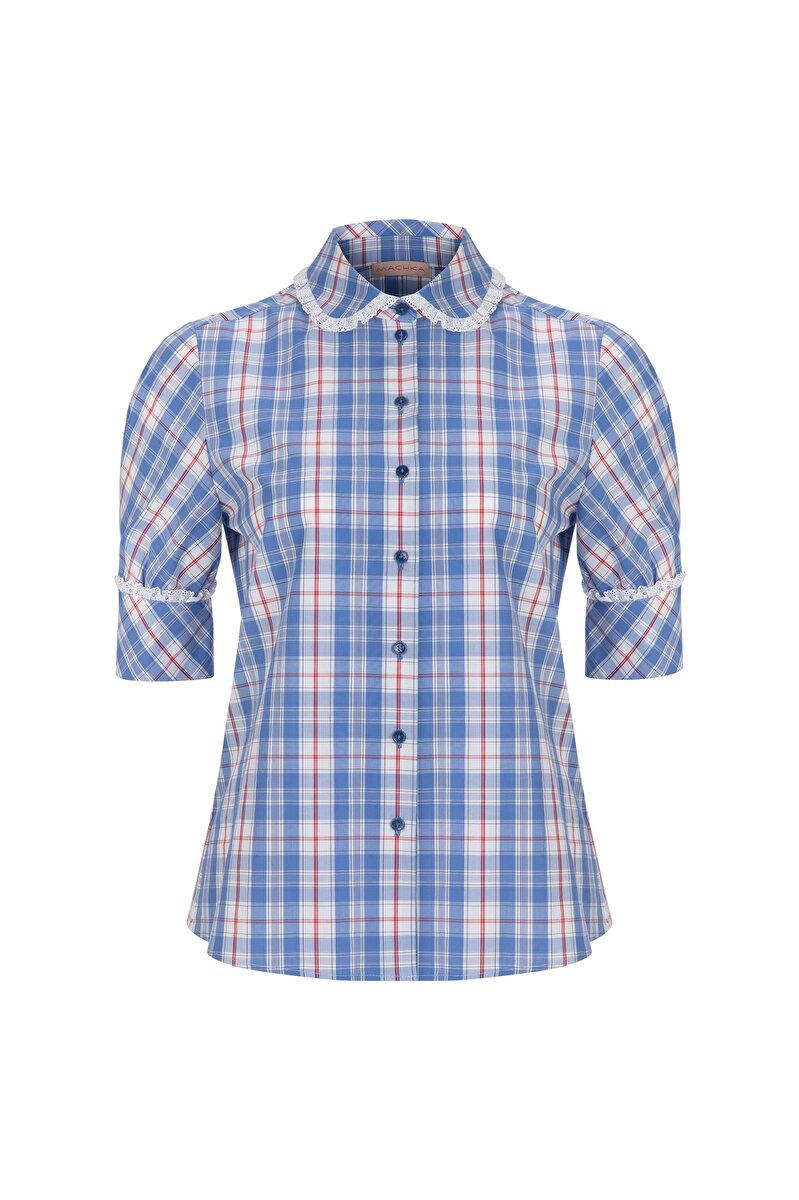 PETER PAN COLLARED BALLOON SLEEVED PLAID SHIRT