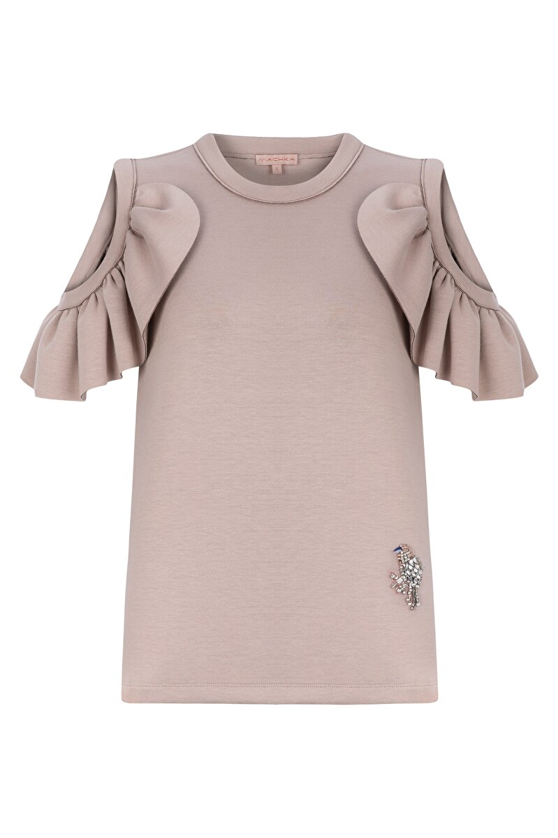 FRILLED BONDED JERSEY SWEATSHIRT WITH SHOULDER CLEAVAGE