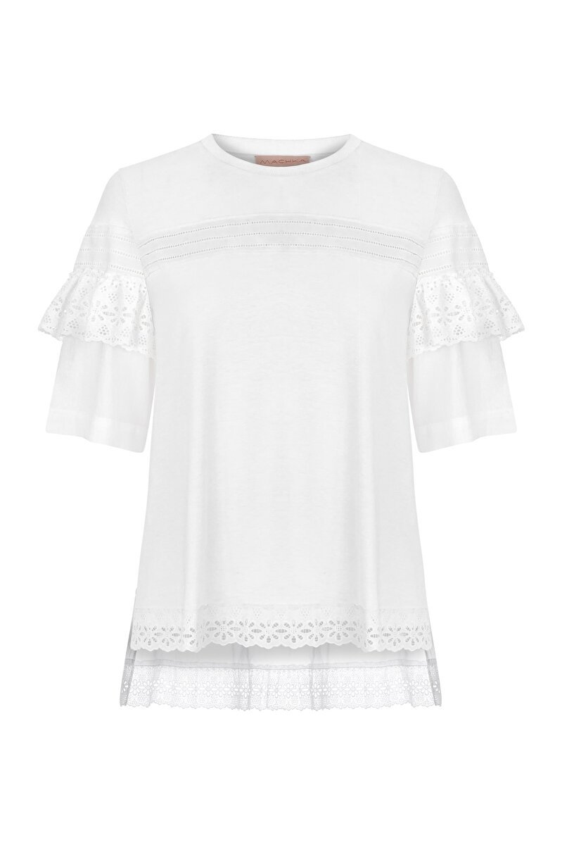 FRILLED JERSEY BLOUSE WITH SCALLOPS