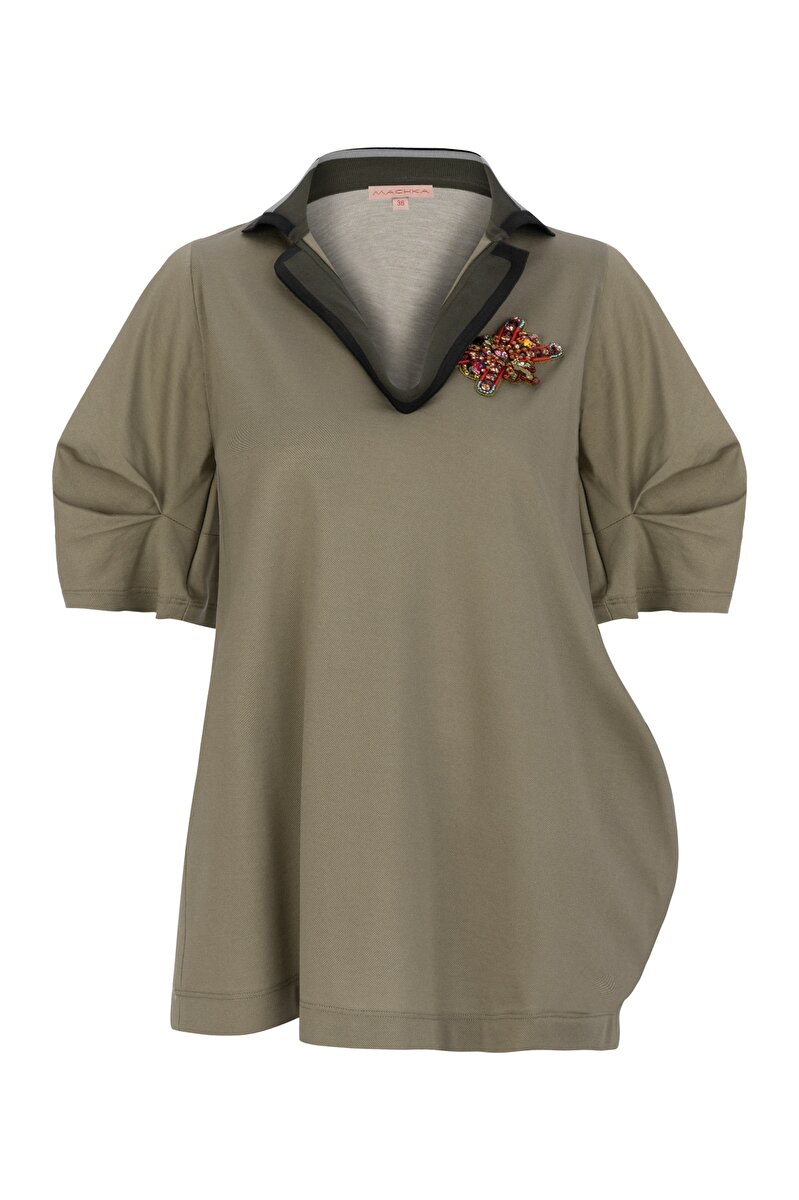 POCKET AND EMBROIDERY DETAILED PIQUE JERSEY BLOUSE