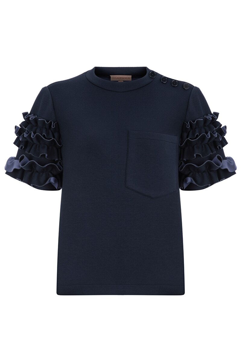 BONDED JERSEY BLOUSE WITH FRILLED SLEEVES AND RIBBED NECK