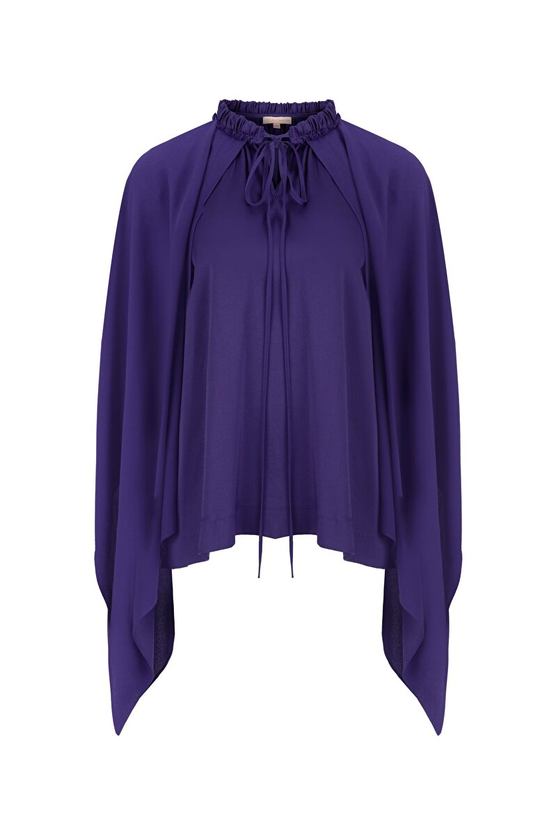 CAPE DETAILED SILK BLOUSE WITH SHIRRED NECK