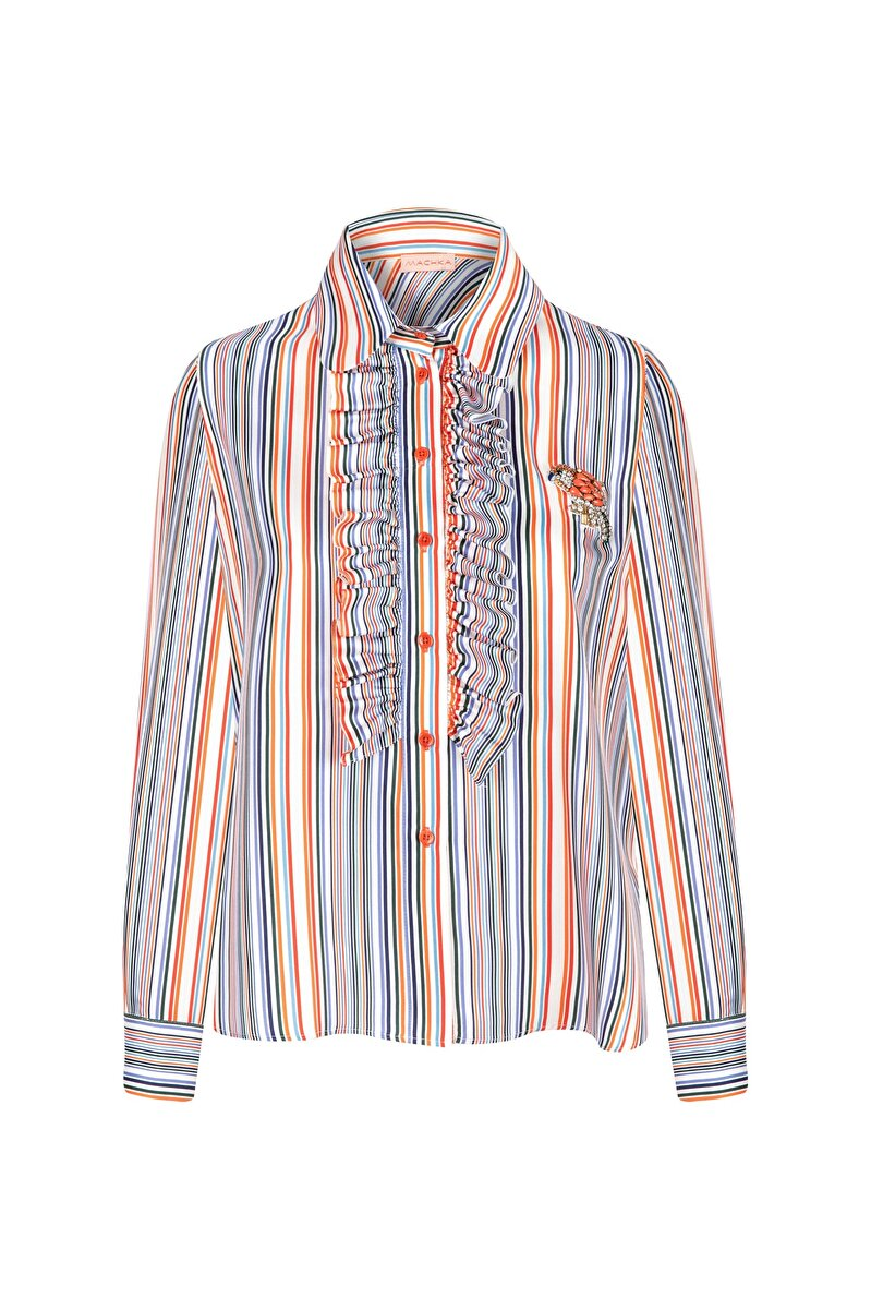 STRIPED TWILL BLOUSE WITH FRILLED DETAIL