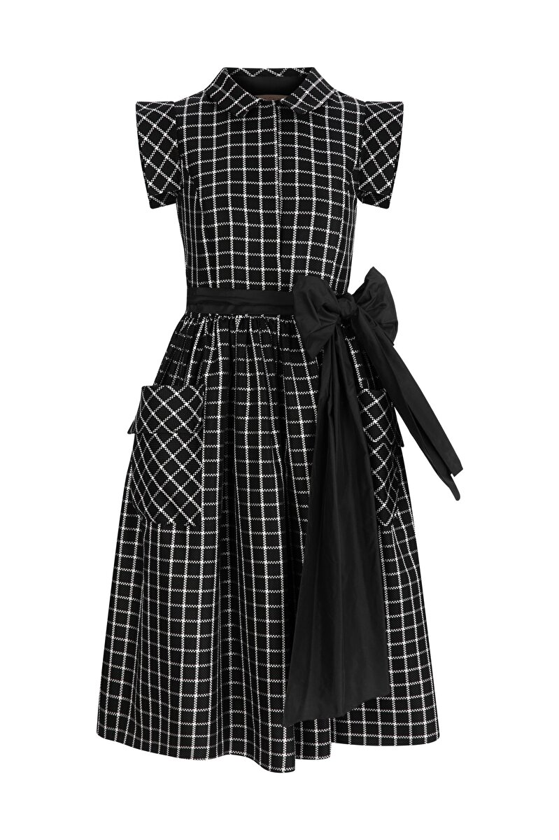 PLAID PANAMA FABRIC DRESS WITH TAFFETA BELT