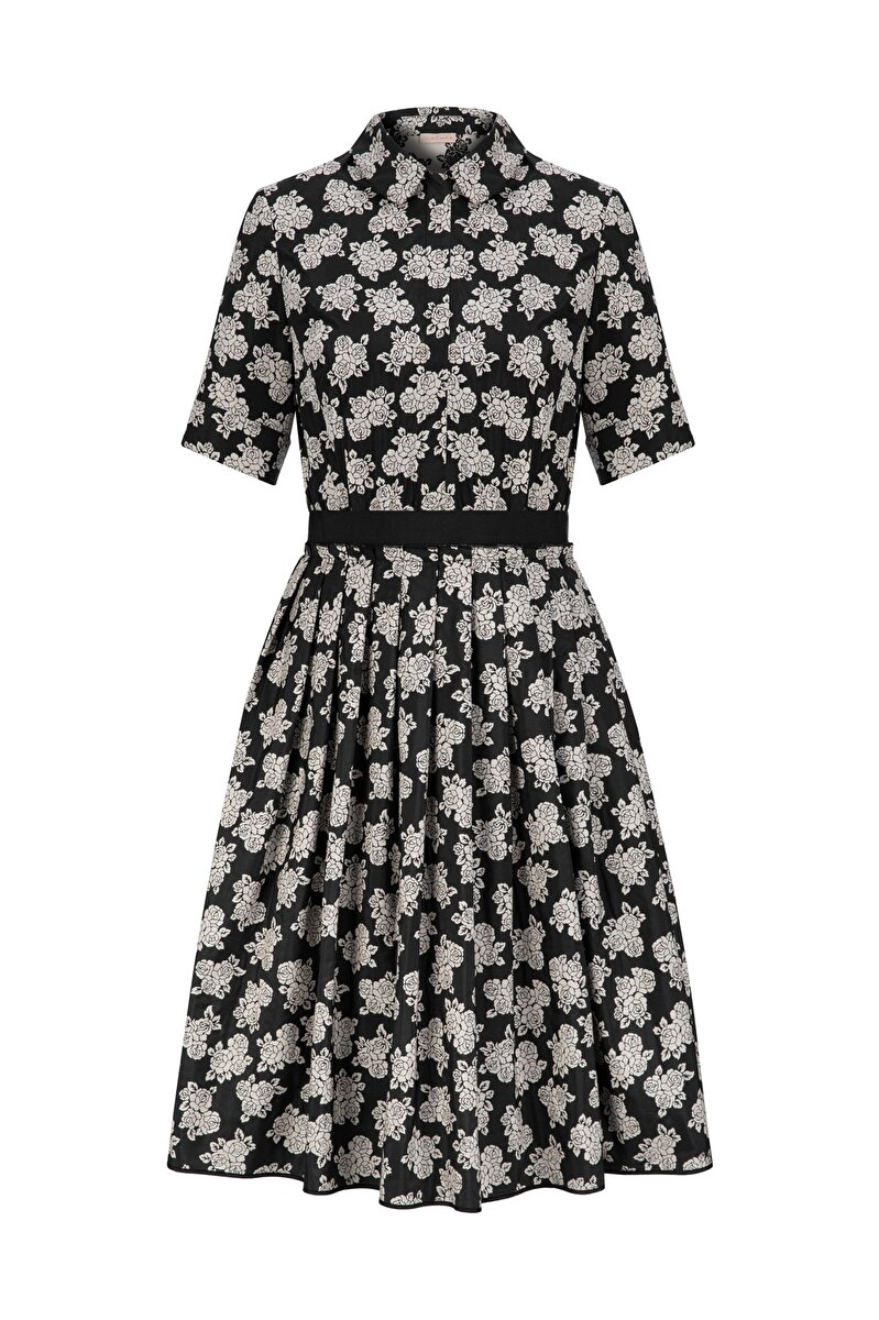 VINTAGE FLOWER JACQUARD DRESS WITH GROSGRAIN WAIST