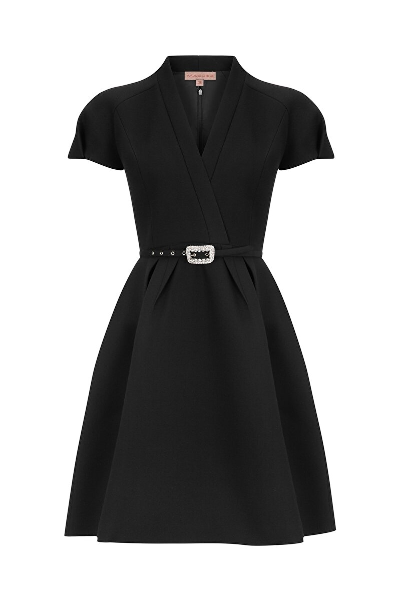 BONDED CREPE DRESS WITH CRYSTAL STONE BELT