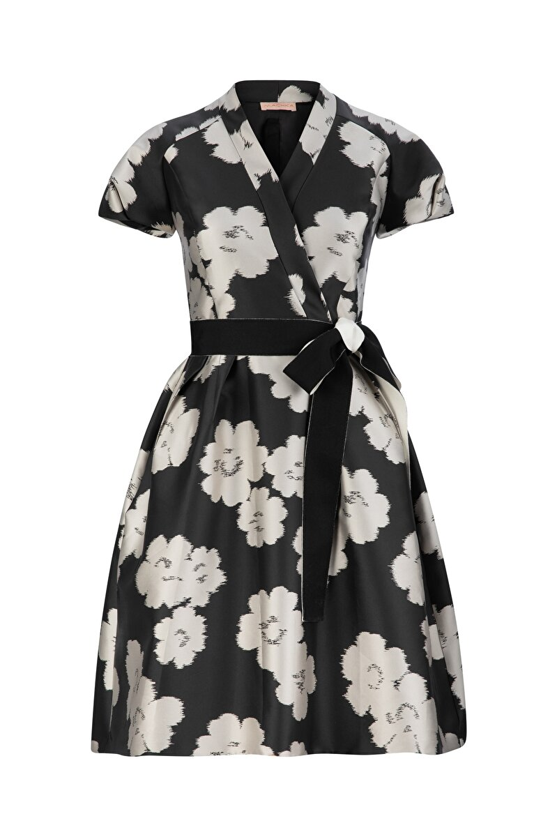HUGE FLOWER JACQUARD DRESS WITH DOUBLE BELT