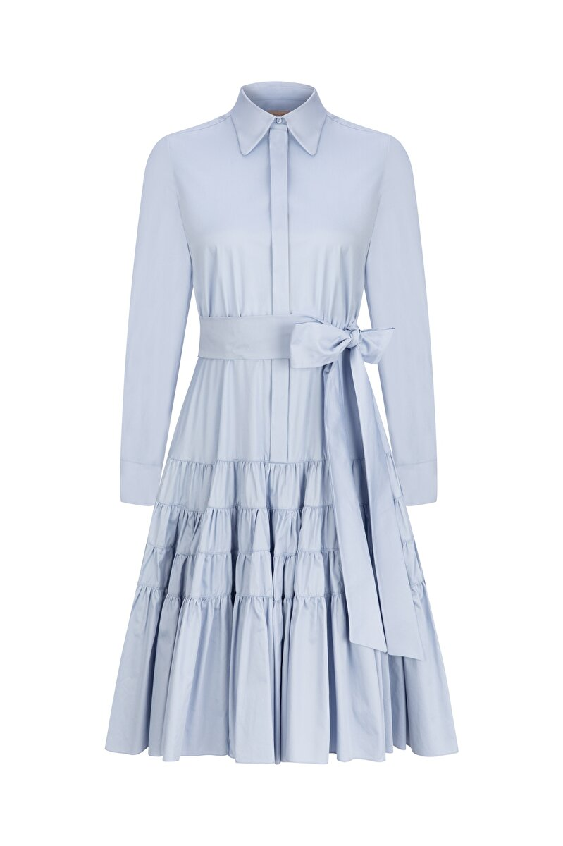 POPLIN SHIRT DRESS WITH BELT AND SHIRRED SKIRT