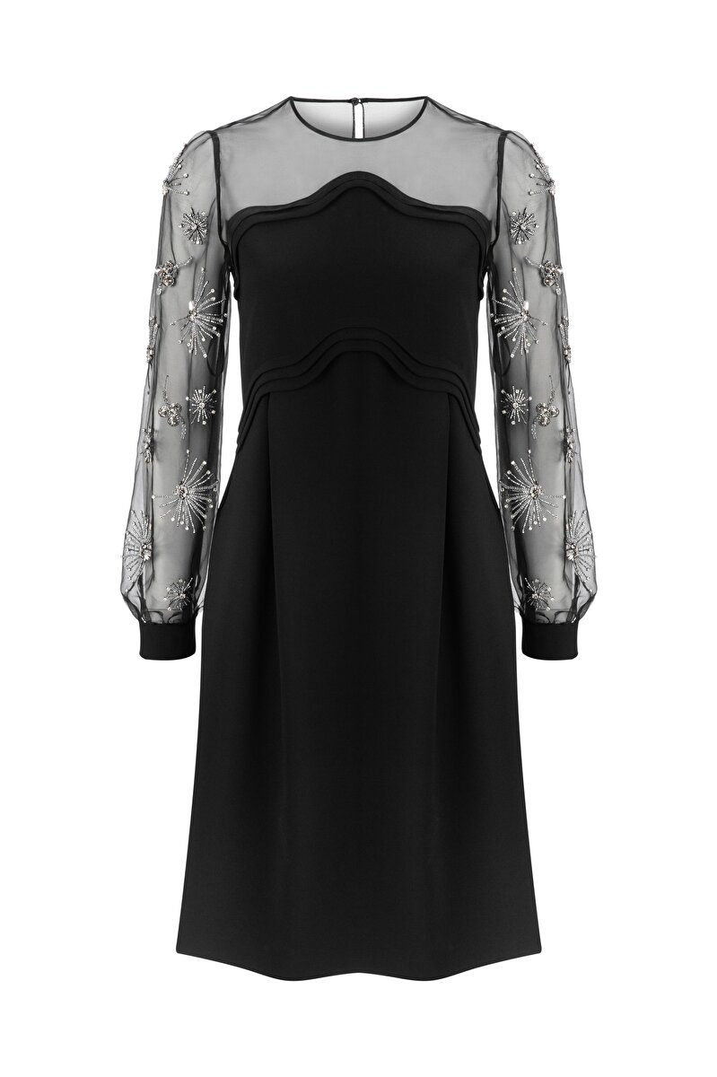 CREPE DRESS WITH STONE EMBROIDERED ORGANZA SLEEVES