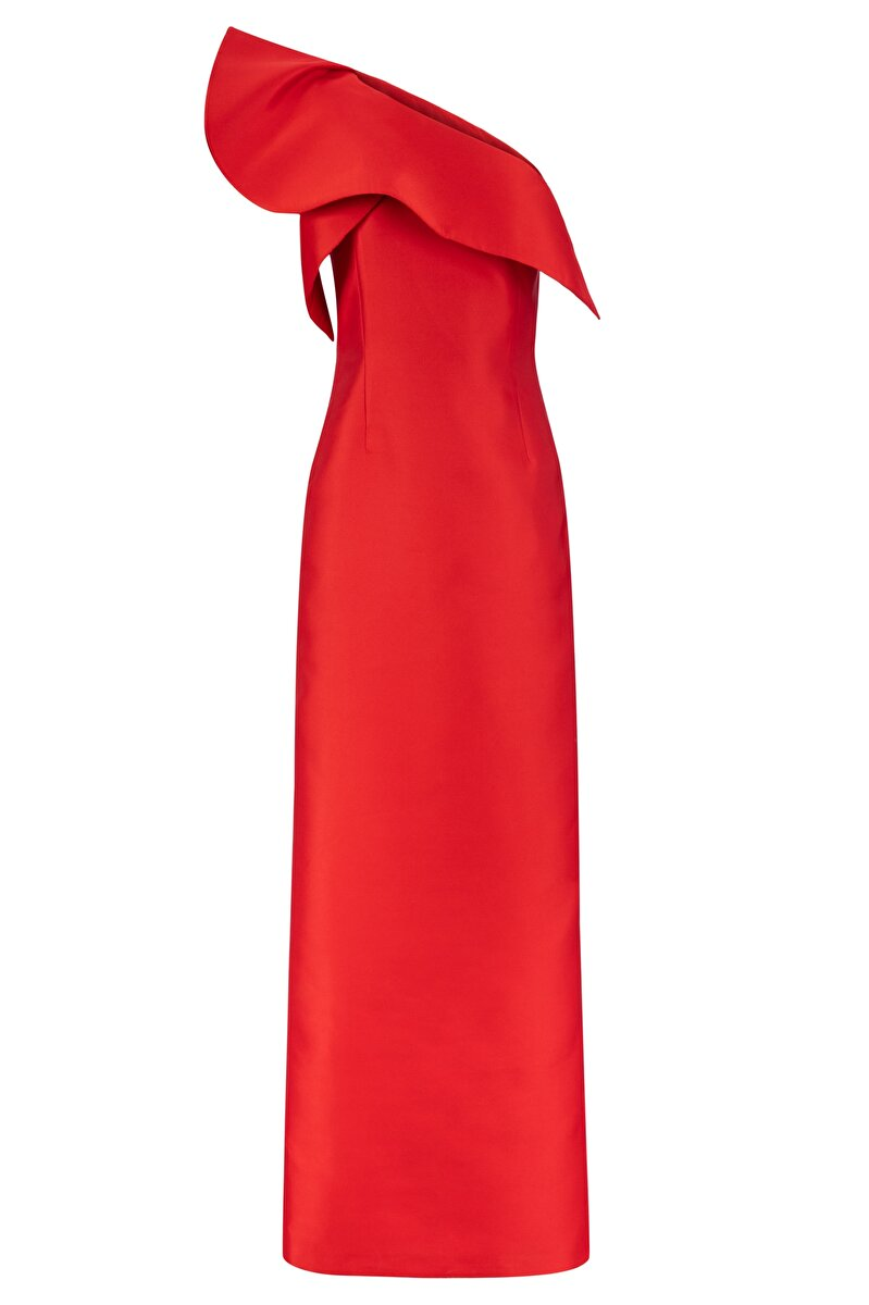 ONE-SHOULDER DRAPED SATIN COCKTAIL DRESS