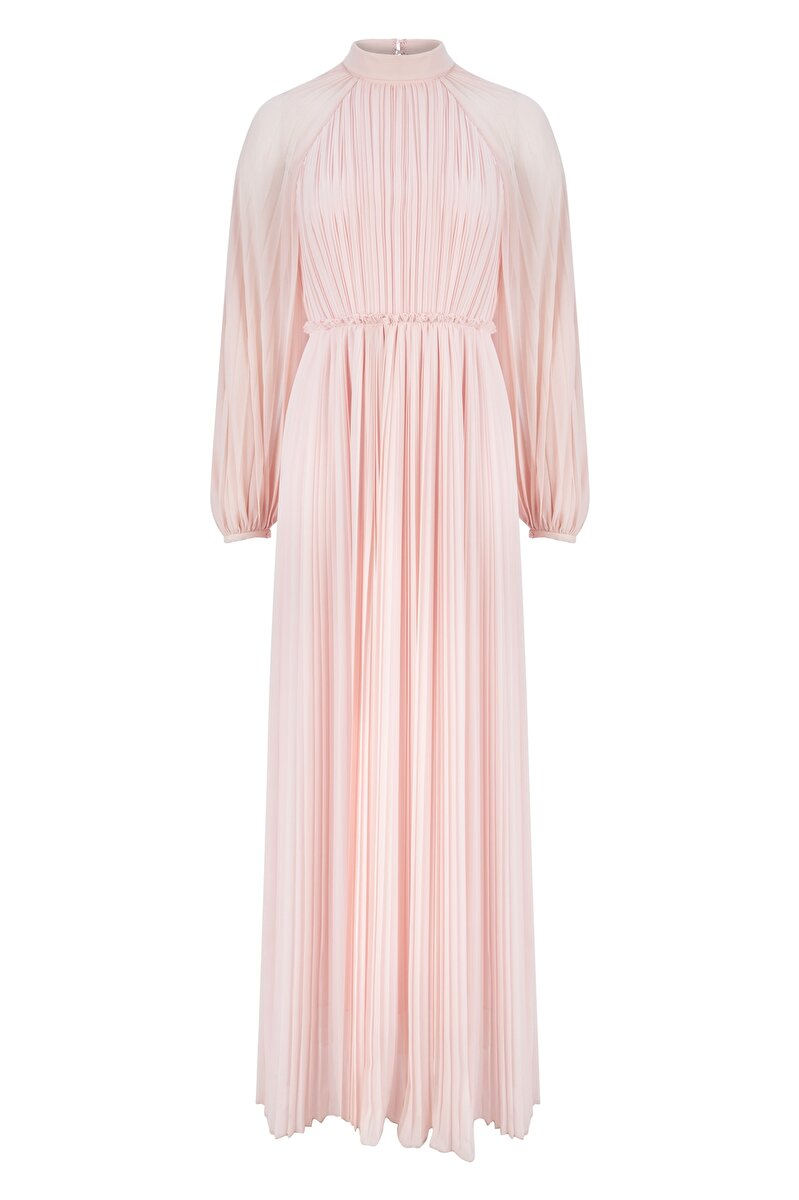 THINLY PLEATED RAGLAN SLEEVED CHIFFON COCKTAIL DRESS