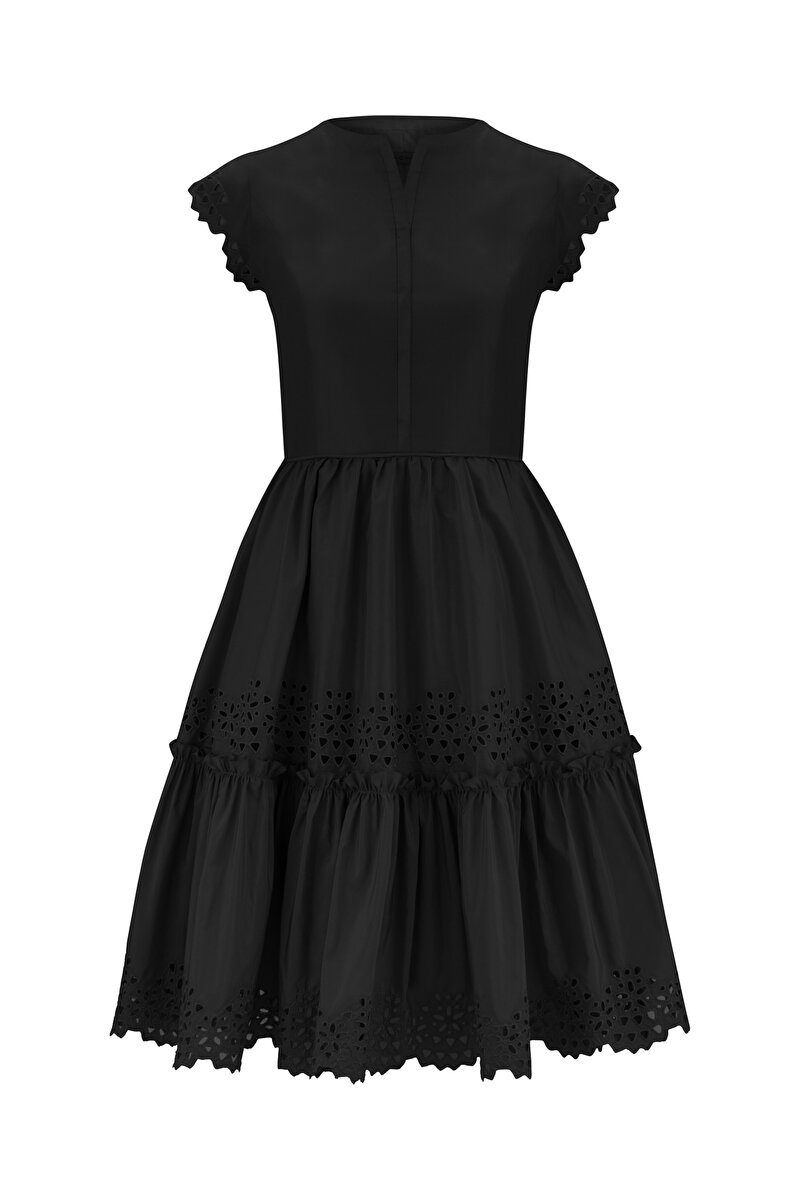 EMBROIDERED MOON SLEEVE TAFFETA DRESS