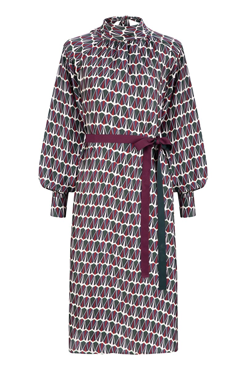 GEOPYRAMID PATTERNED SILK DRESS WITH GROSGRAIN BOWTIE