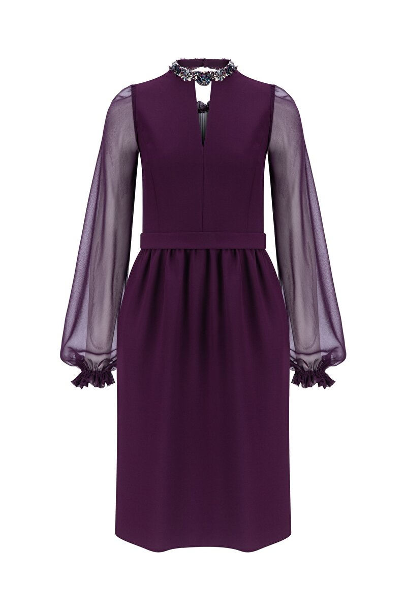 SILK-CHIFFON SLEEVED CREPE DRESS WITH METALLIC STONES