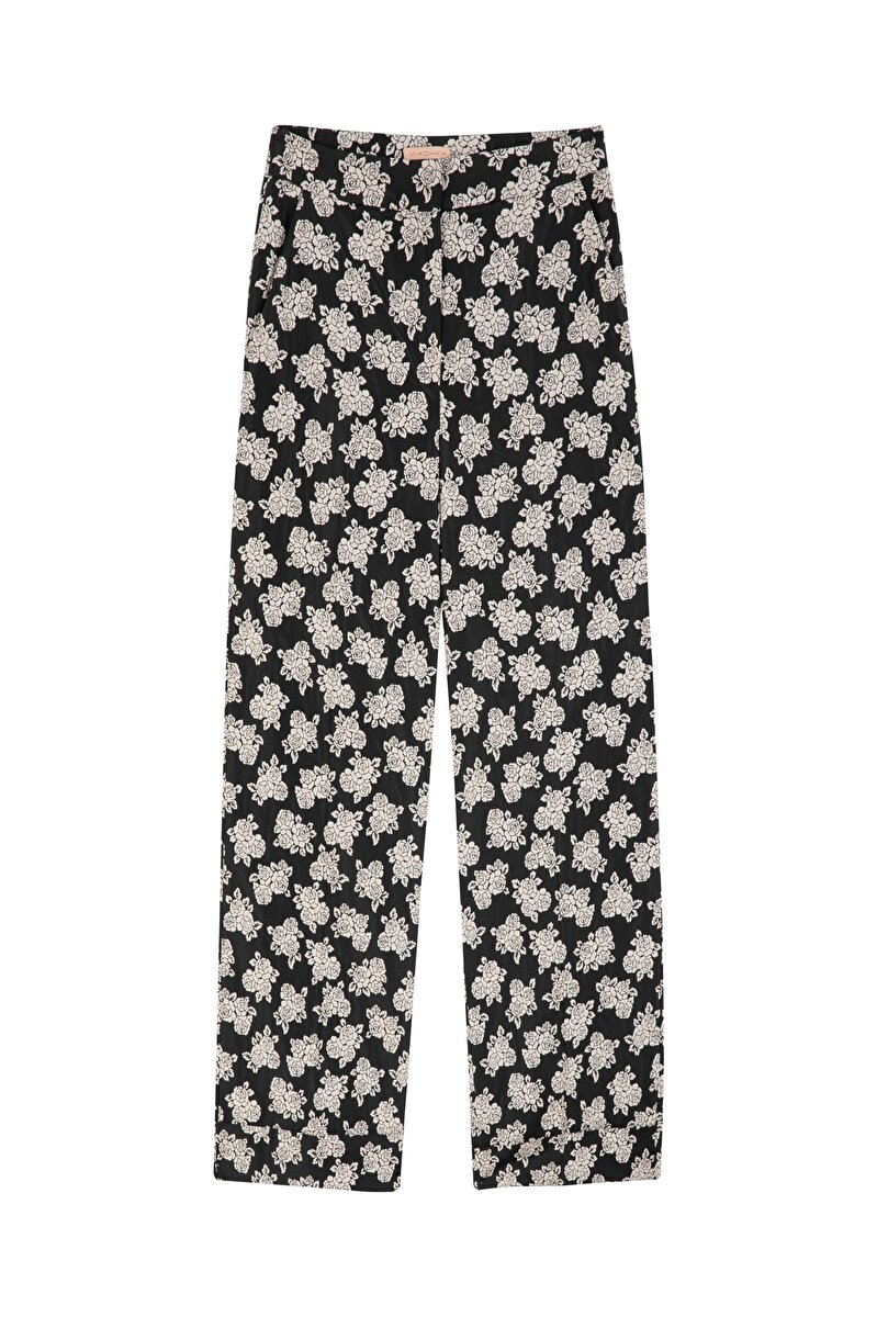 STRAIGHT CUT VINTAGE FLOWER JACQUARD PANTS