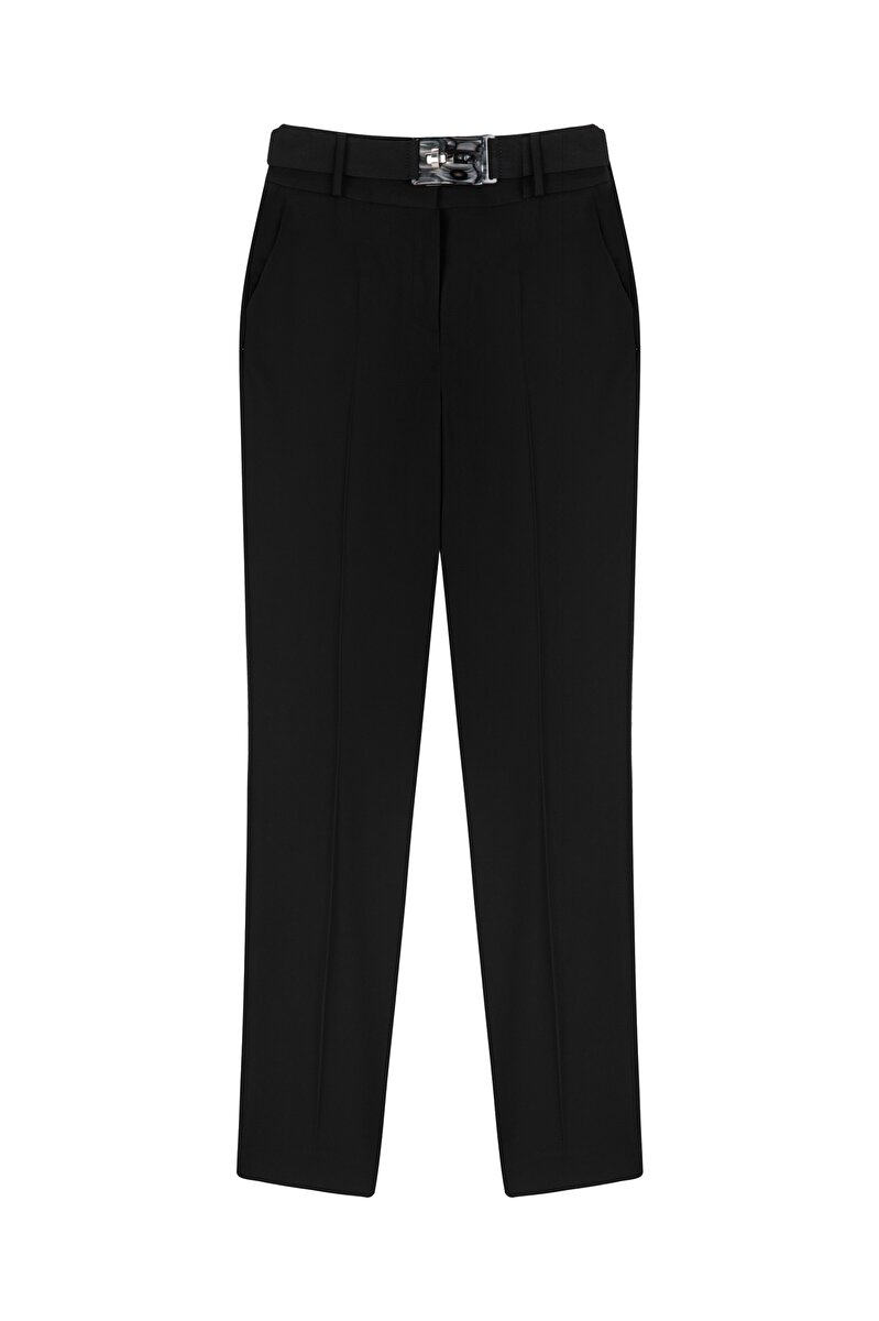 CREPE PANTS WITH PLEATED BELT