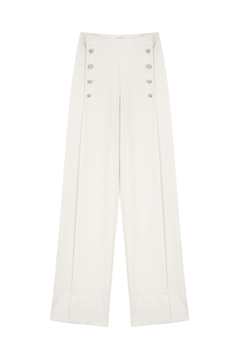 HIGH WAIST CREPE PANTS WITH CRYSTAL BUTTON