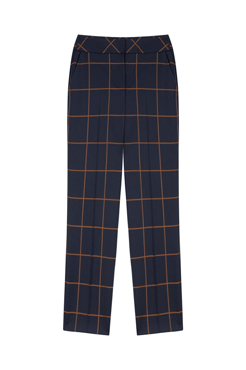 CIGARETTE PLAID WOOL GABARDINE PANTS