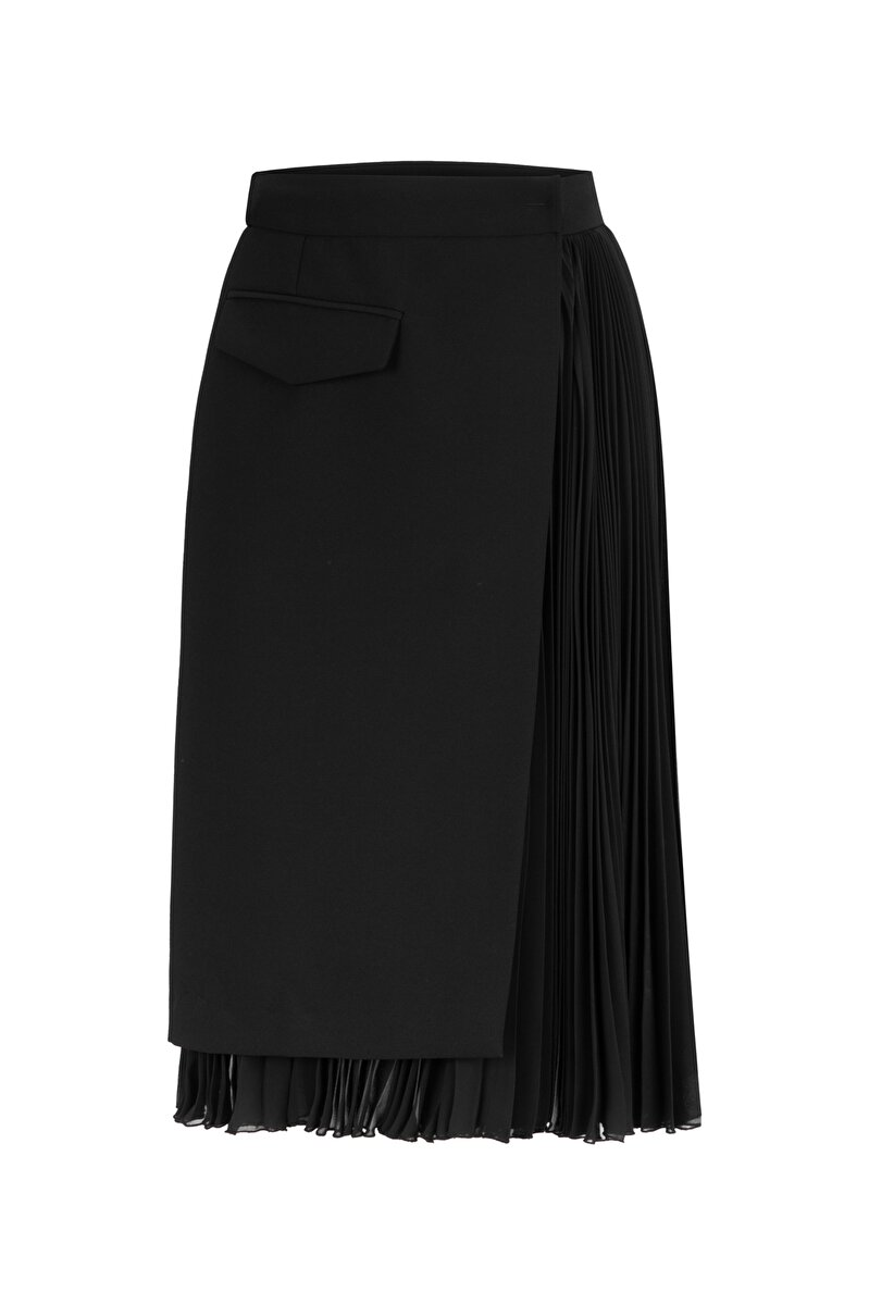 PLEATED CREPE SKIRT WITH ONE-SIDED CHIFFON