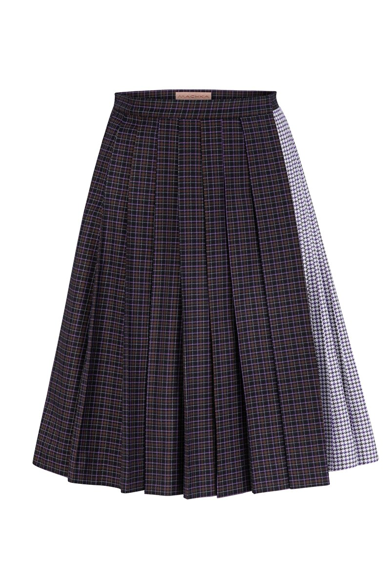 PLEATED PLAID POPLIN SKIRT