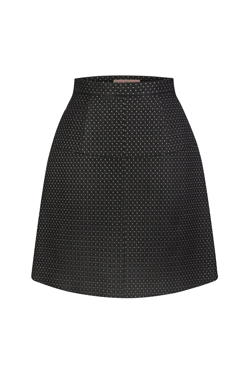 SMALL DOTTED JACQUARD BOX SKIRT