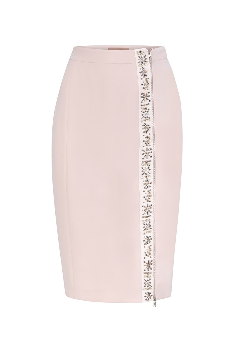CRYSTAL EMBROIDERED CREPE PENCIL SKIRT WITH ZIPPER