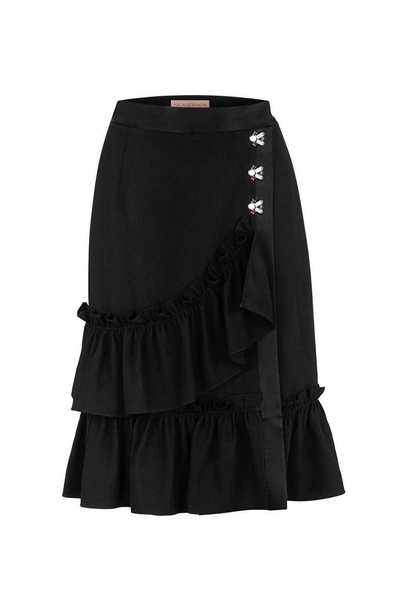 FRILLED SATIN SKIRT WITH CRYSTAL BUTTON