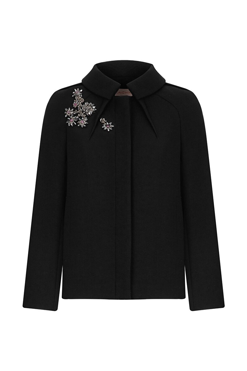 FLOWER MODULE EMBROIDERED BONDED CREPE JACKET